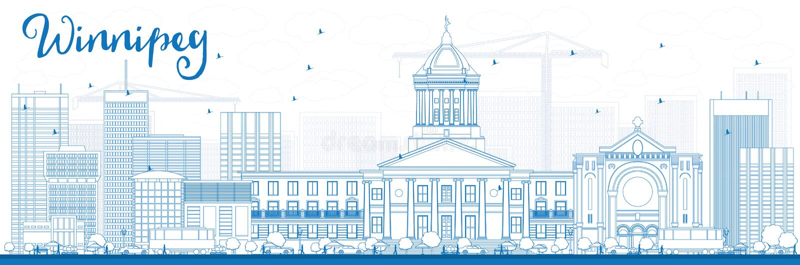 Winnipeg περιλήψεων ορίζοντας με τα μπλε κτήρια απεικόνιση αποθεμάτων