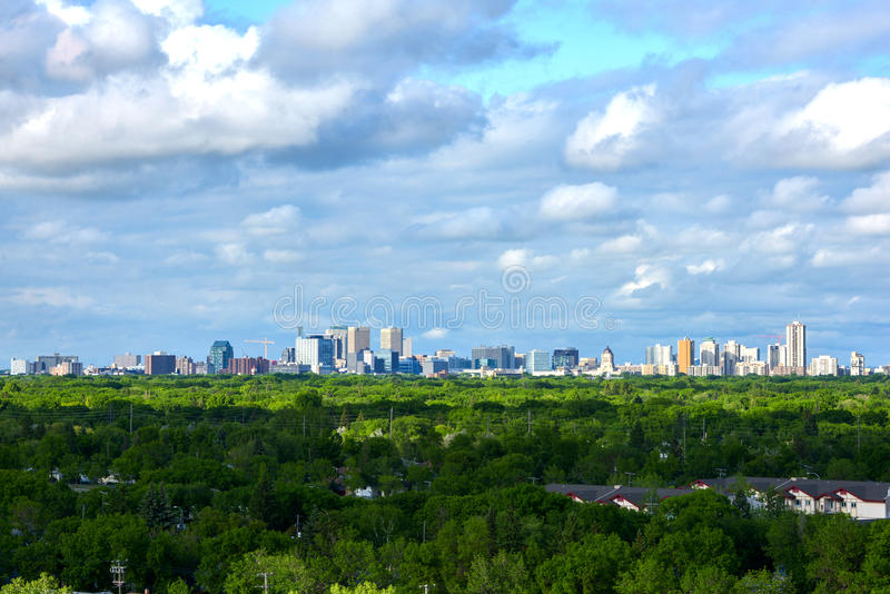 Winnipeg city aerial view at manitoba canada royalty free stock image