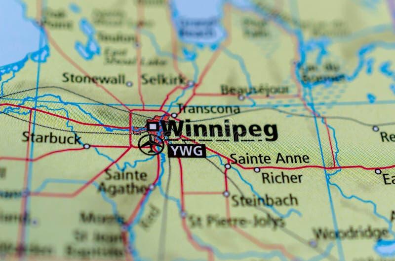 Winnipeg en mapa imagen de archivo libre de regalías