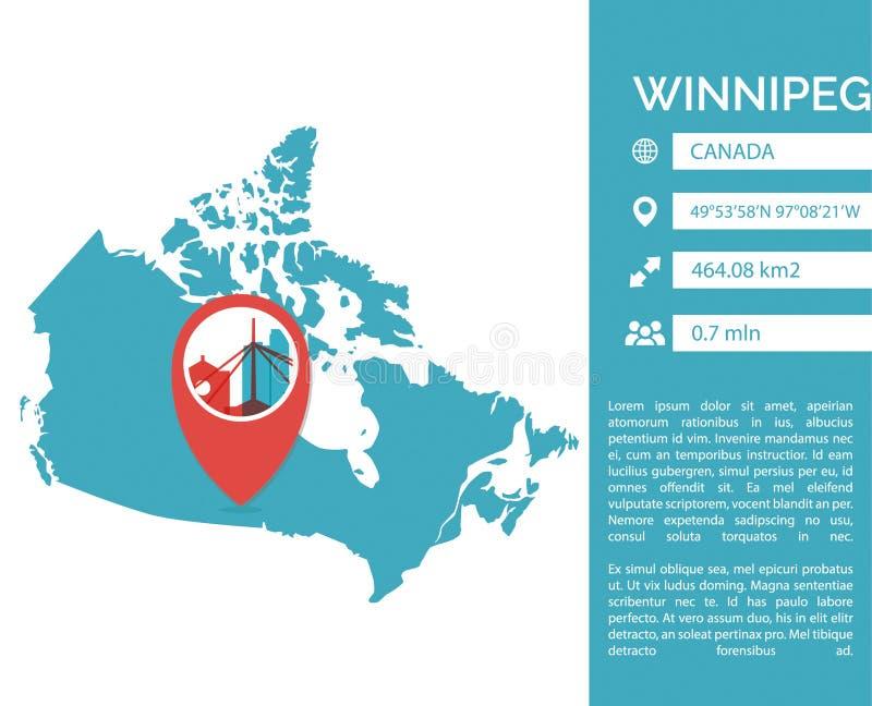 Winnipeg infographic απομονωμένη διάνυσμα απεικόνιση χαρτών ελεύθερη απεικόνιση δικαιώματος