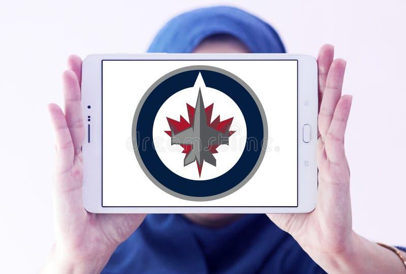 Winnipeg Jets ice hockey team logo. Logo of Winnipeg Jets ice hockey team on samsung tablet holded by arab muslim woman. The Winnipeg Jets are a professional ice stock images