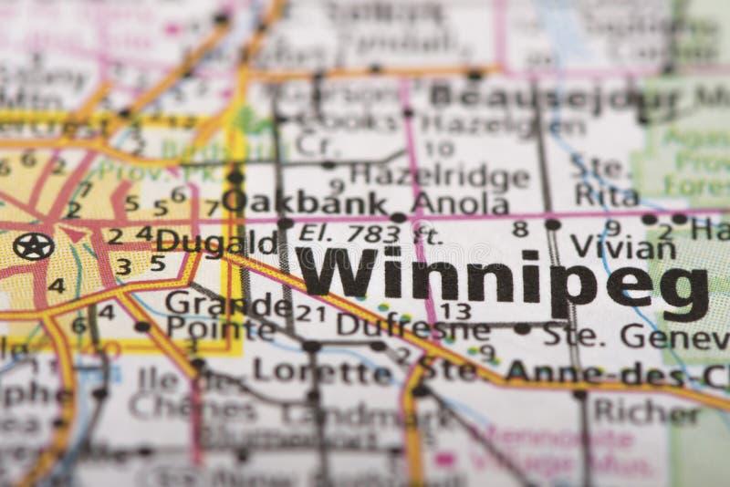 Winnipeg, Manitoba auf Karte stockbilder