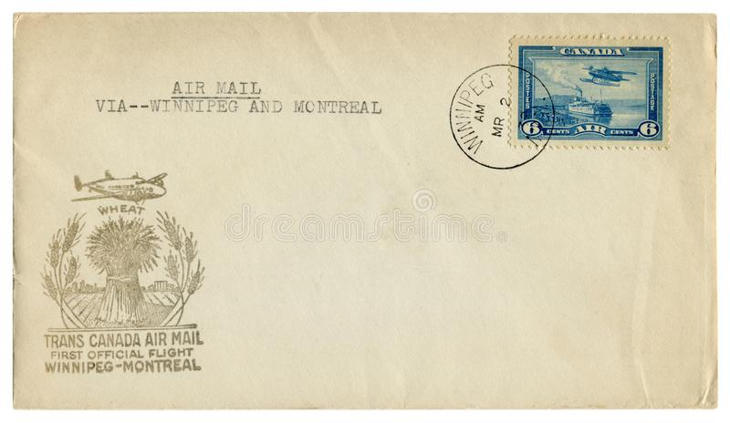 Winnipeg, Montreal, Canada  - 2 March 1939: canadian historical envelope: cover with cachet trans canada air mail first official f stock photos