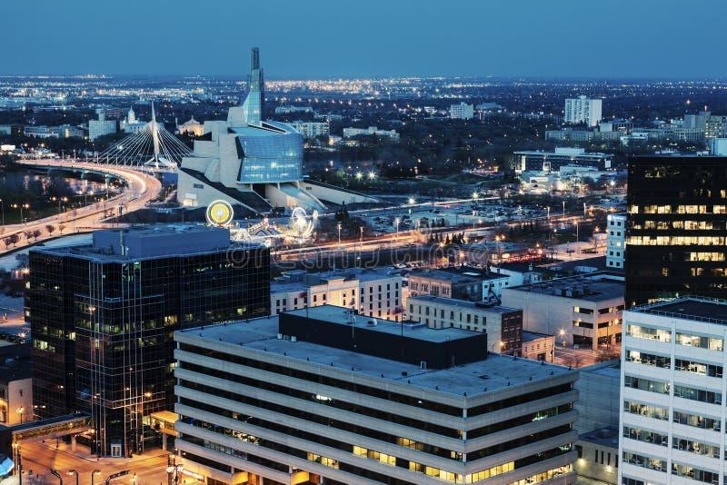 Winnipeg panorama przy nocą obraz royalty free