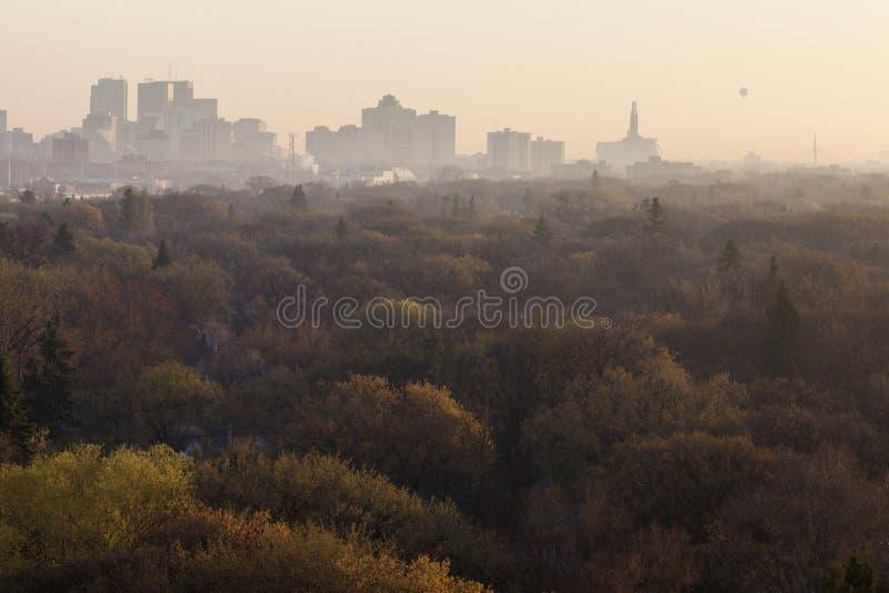 Winnipeg panorama przy wschodem słońca fotografia stock