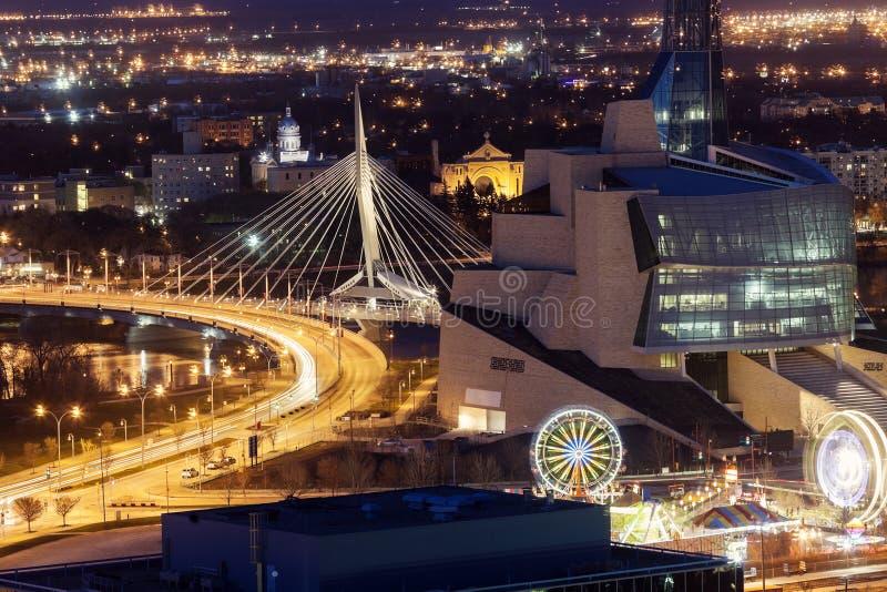 Winnipeg panorama przy zmierzchem fotografia royalty free
