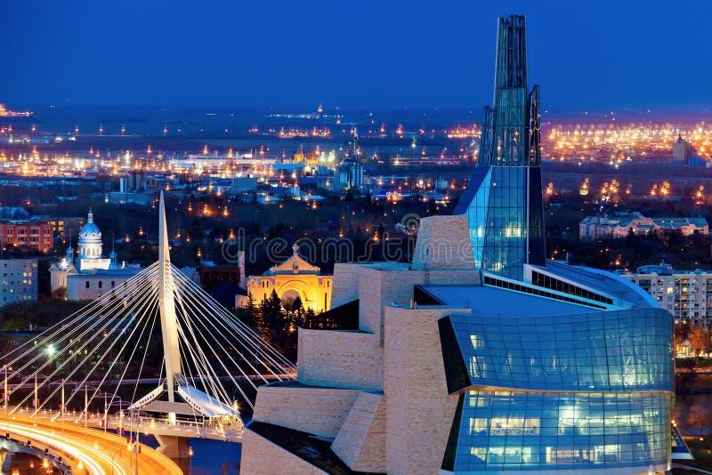Winnipeg panorama przy zmierzchem obrazy royalty free