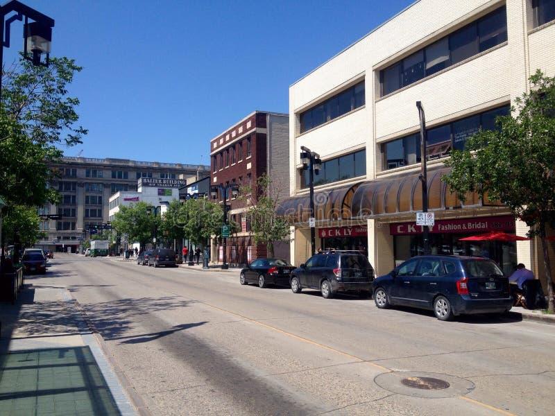 Winnipeg van de binnenstad in een zondag stock afbeelding