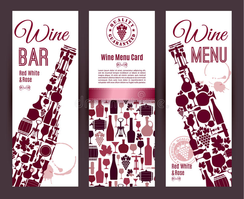 Wino baru menu karta royalty ilustracja