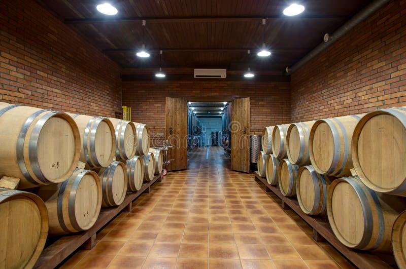 Wino baryłki w piwnicie wytwórnia win obraz stock