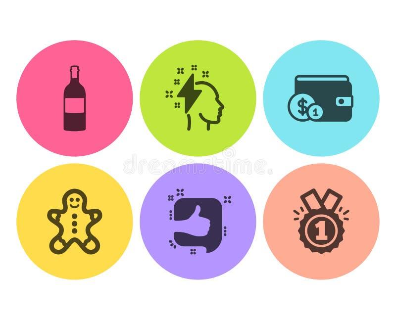 Wino butelka, Brainstorming Jak ikony ustawia? i Piernikowy mężczyzna, Kupujący akcesoryjnych i Zatwierdzonych znaki wektor ilustracja wektor