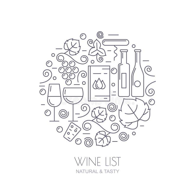 Wino butelka, szkło, gronowy winograd, liść ikony Jedzenia i napoju backg royalty ilustracja