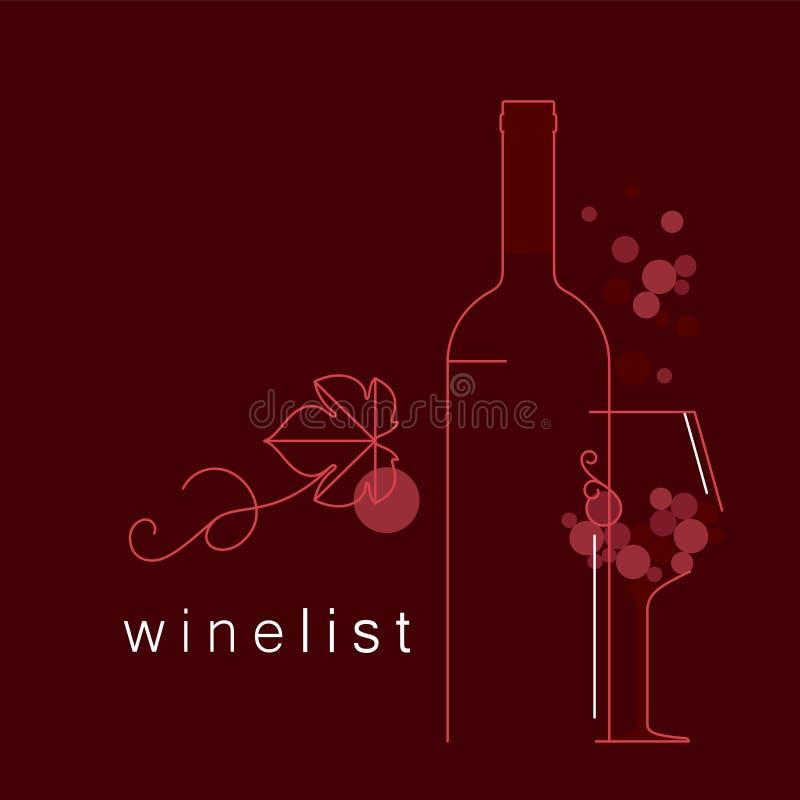Wino Butelka, szkło, winogrona z liściem ilustracji
