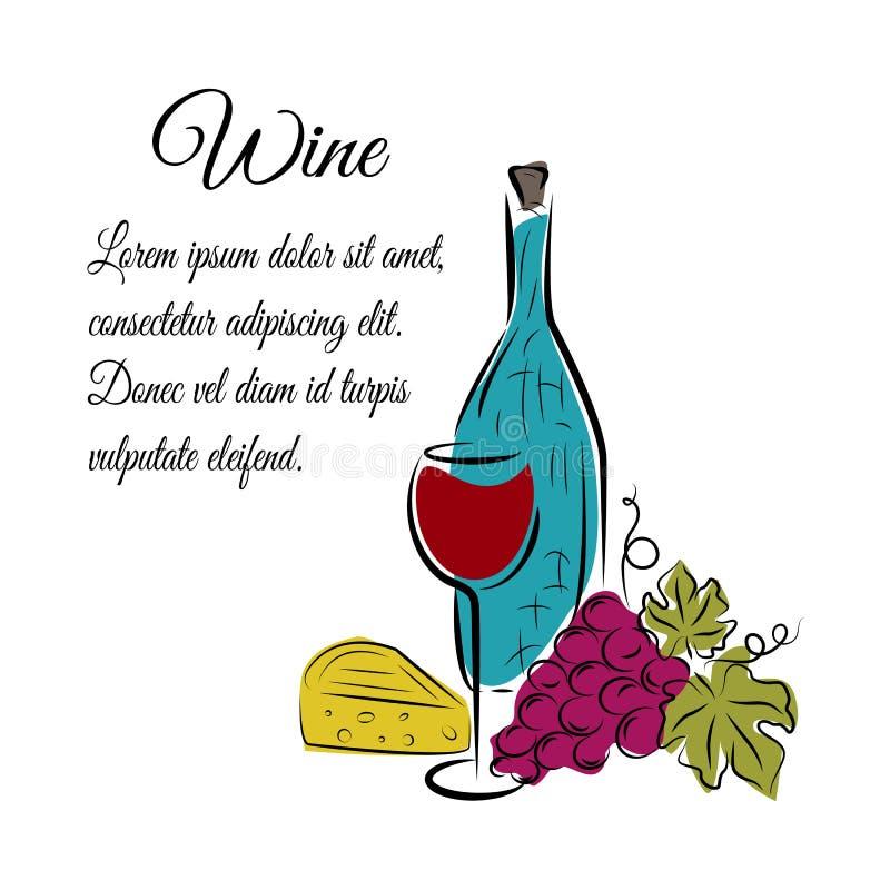 Wino butelka, wina szkło, winogrono i ser, Ręka rysujący pojęcie ilustracja wektor