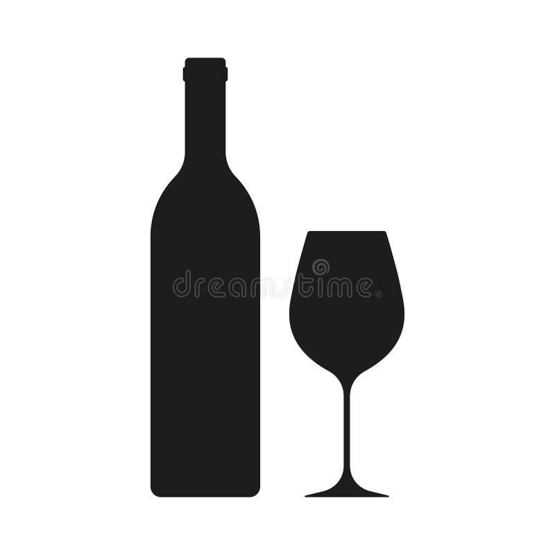 Wino butelka z wina szkła ikoną odizolowywającą na białym tle również zwrócić corel ilustracji wektora ilustracja wektor