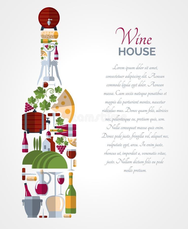 Wino butelki ikon składy plakatowi ilustracja wektor
