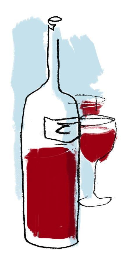 Wino butelki rysunek (colour) ilustracji