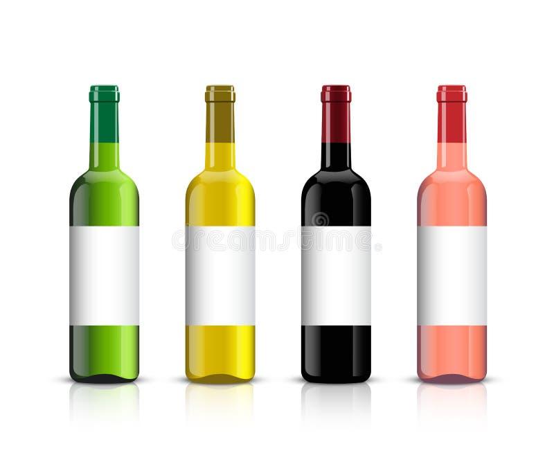 Wino butelki set Wektorowe wino butelki z cieniami i lustrzanym odbiciem odizolowywającymi na białym tle royalty ilustracja
