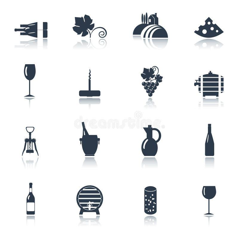Wino czarne ikony ustawiać royalty ilustracja