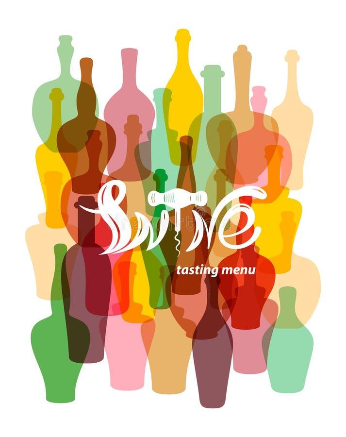 Wino degustaci menu Barwione sylwetki wino butelki Literowanie w postaci wina corkscrew royalty ilustracja
