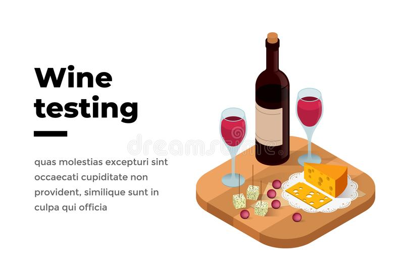 Wino degustaci sztandaru isometric wektor royalty ilustracja
