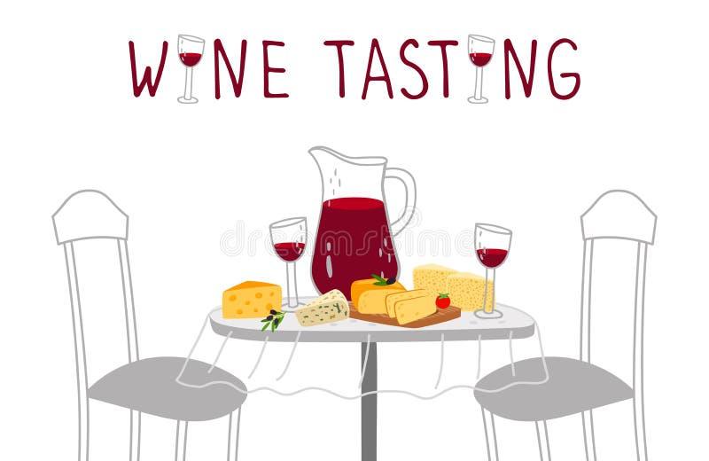 Wino degustacji plakat Czerwone wino, serowa wektorowa ilustracja Rzemiosło napojów i rolnych serów kosztować royalty ilustracja