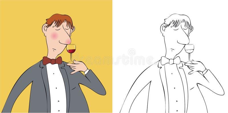 Wino degustator ilustracja wektor