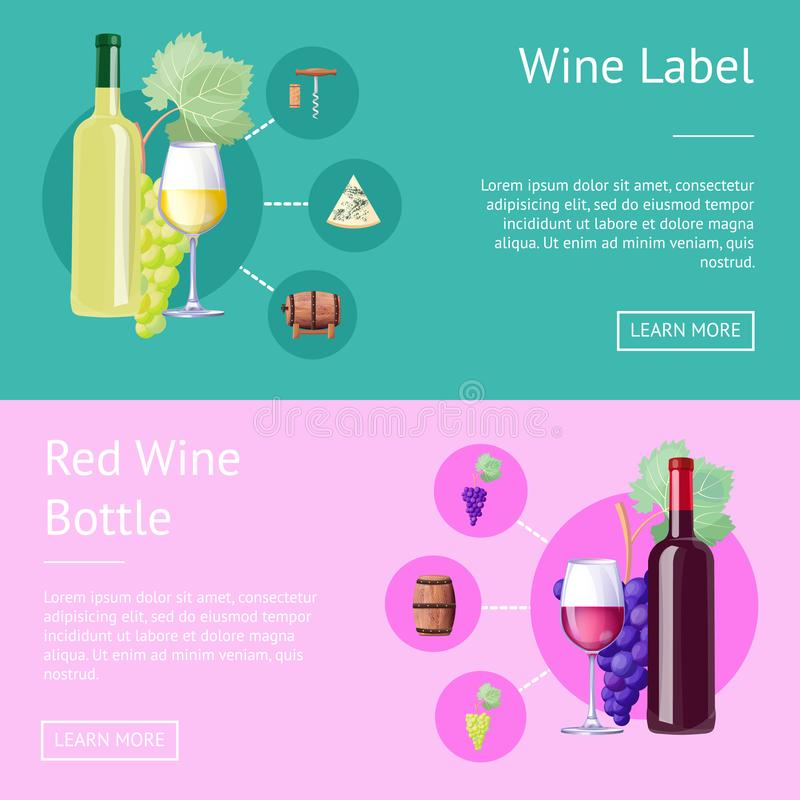 Wino etykietka i butelka Czerwoni Internetowi sztandary ilustracji