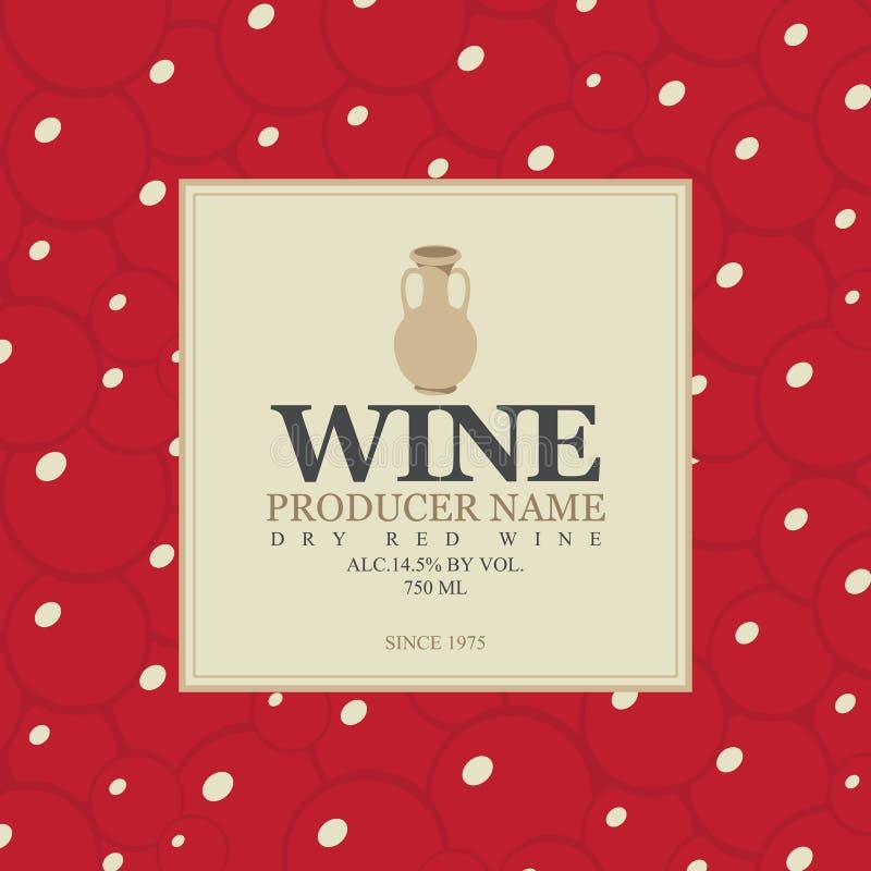 Wino etykietka z glinianym dzbankiem ilustracja wektor
