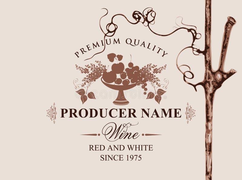 Wino etykietka z pucharem owoc, bez i winorośl, ilustracja wektor