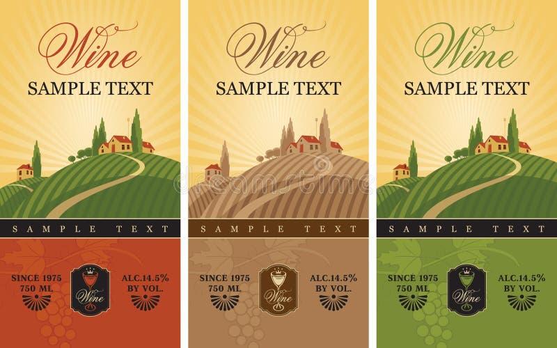 Wino etykietki royalty ilustracja