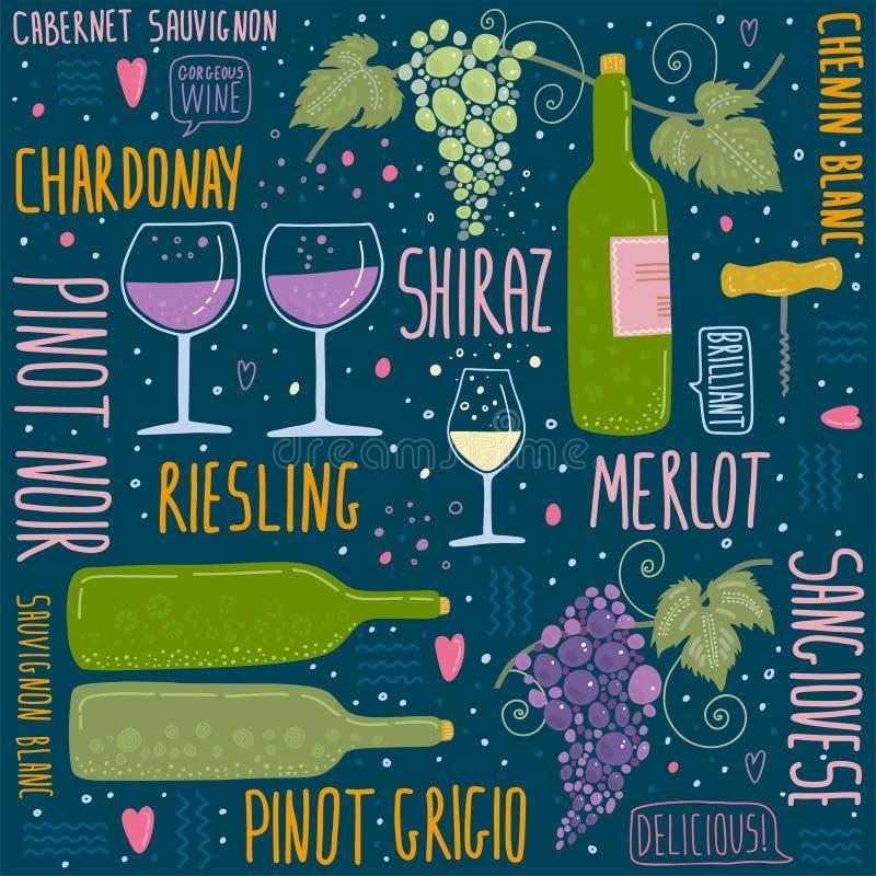 Wino festiwal Set rzeczy o winie ilustracji