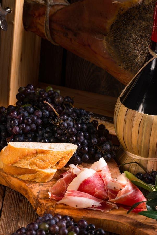 Wino i prosciutto obraz stock