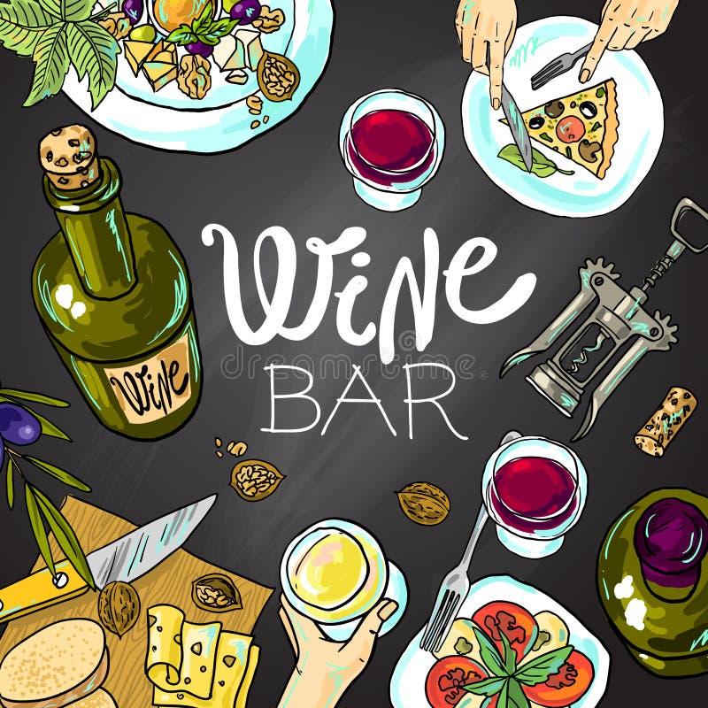 Wino i ser royalty ilustracja