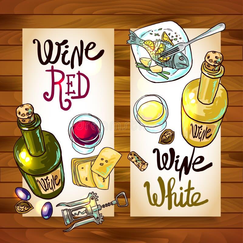 Wino i ser ilustracja wektor