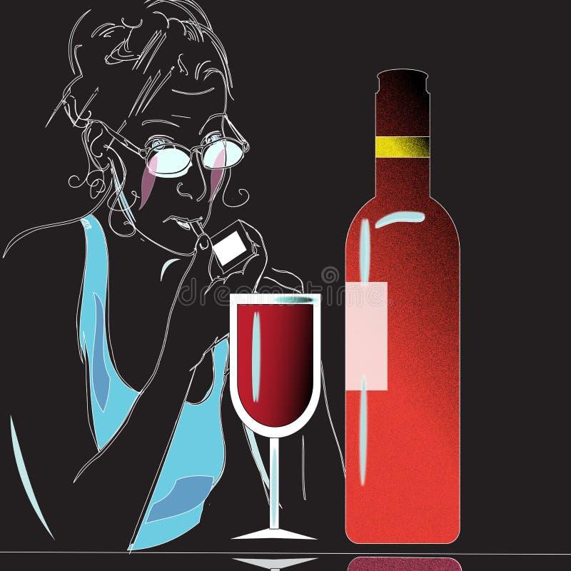 Wino i szkło ilustracja wektor