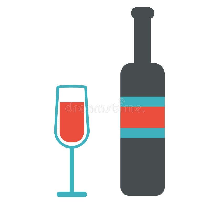 Wino i szklany projekt ustawiamy dla menu w restauraci ilustracja wektor