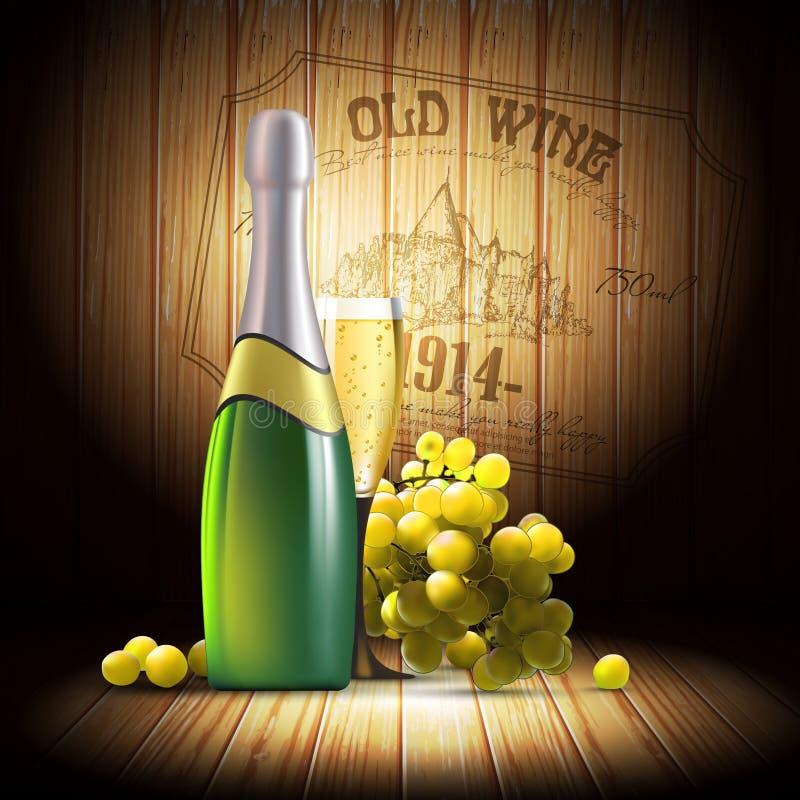 Download Wino i winorośl ilustracja wektor. Ilustracja złożonej z chateau - 53782960