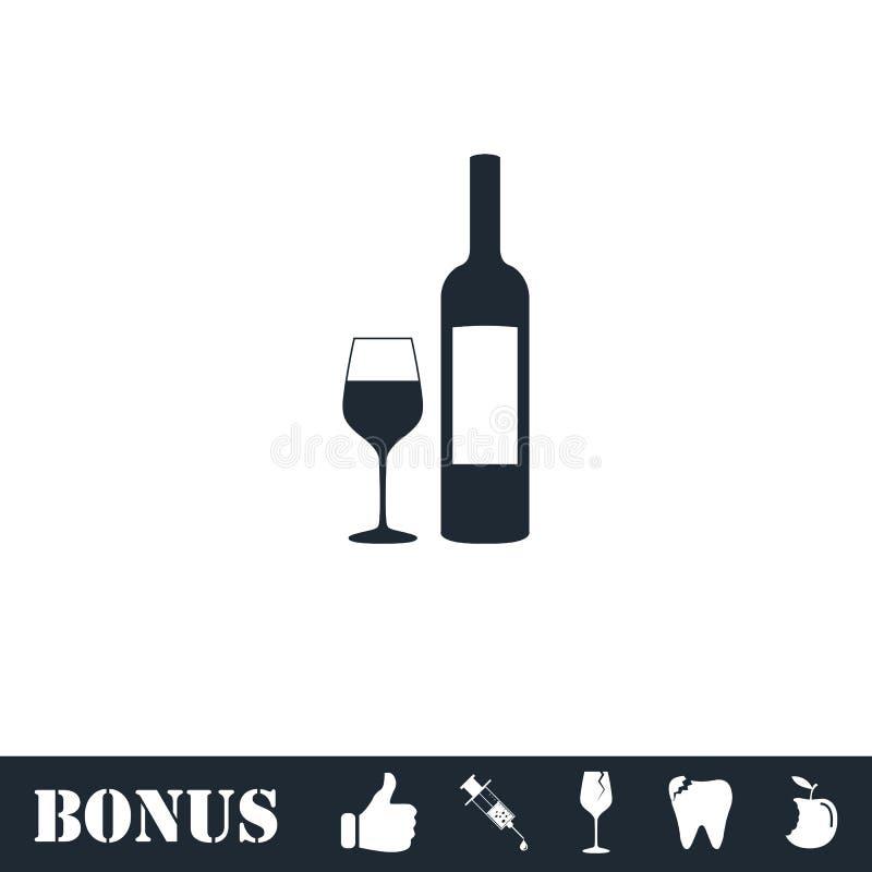 Wino ikony mieszkanie ilustracji