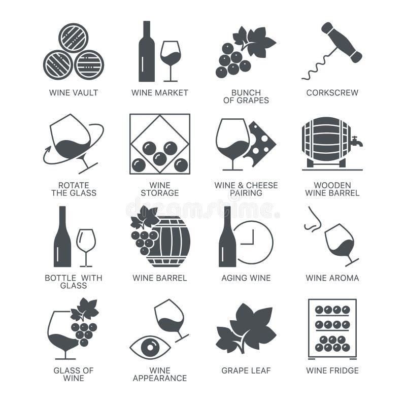 Wino ikony ustawiać odizolowywać na białym tle ilustracja wektor