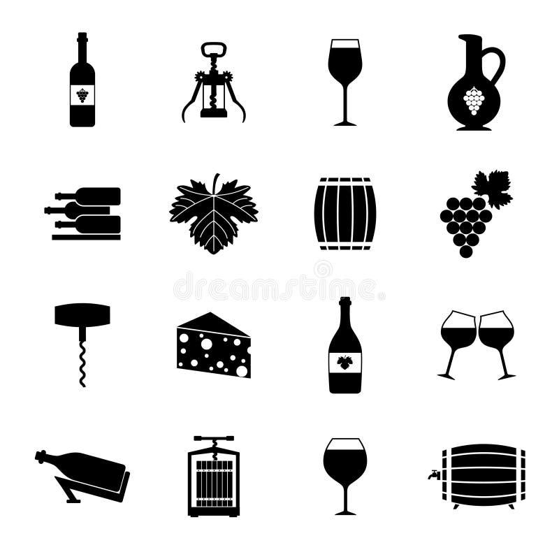 Wino ikony ustawiają czerń ilustracja wektor