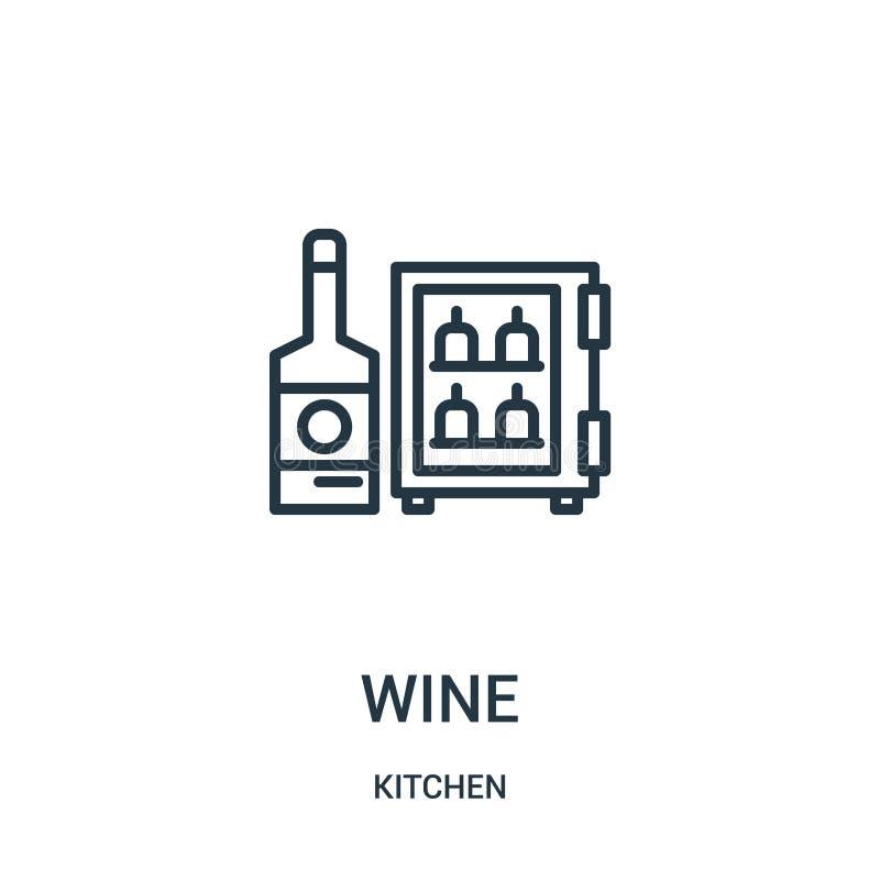 wino ikony wektor od kuchennej kolekcji Cienka kreskowa wino konturu ikony wektoru ilustracja Liniowy symbol dla używa na sieci i royalty ilustracja