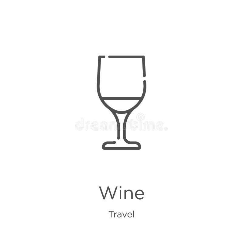 wino ikony wektor od podróży kolekcji Cienka kreskowa wino konturu ikony wektoru ilustracja Kontur, cienieje kreskow? wino ikon?  royalty ilustracja