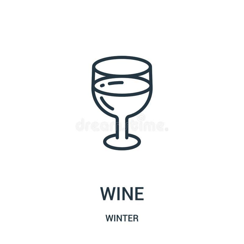 wino ikony wektor od zimy kolekcji Cienka kreskowa wino konturu ikony wektoru ilustracja Liniowy symbol dla używa na sieci i wisz royalty ilustracja