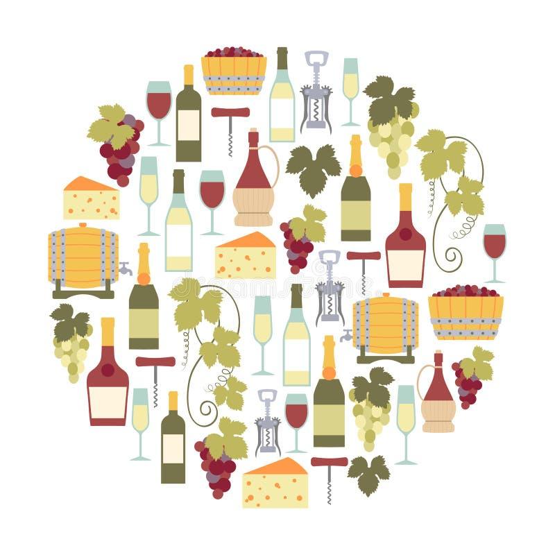 Wino karta ilustracji