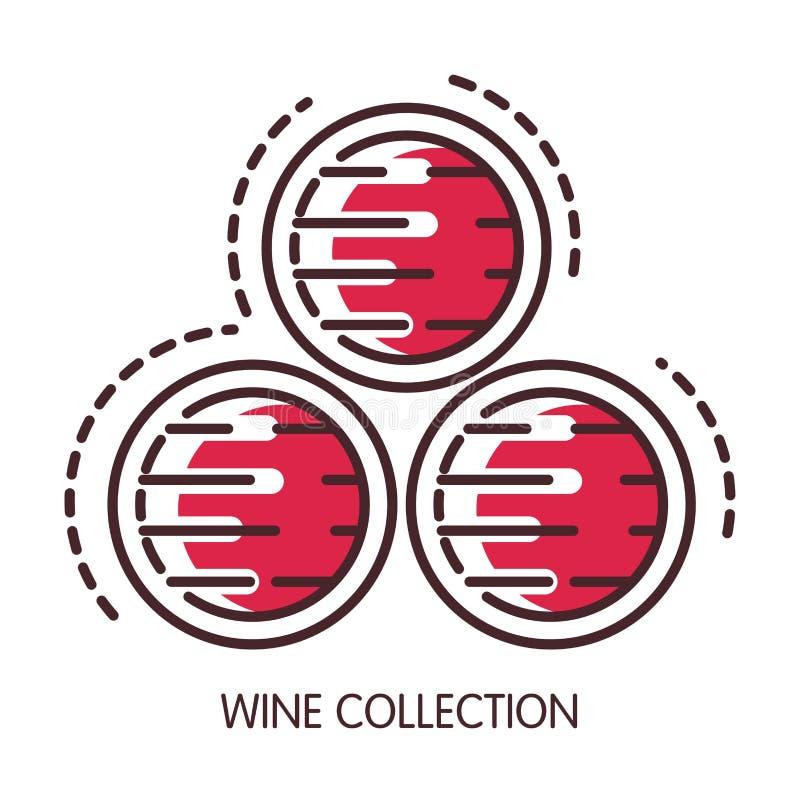 Wino kolekcja chroniąca w drewnianych baryłkach handlowych ilustracja wektor