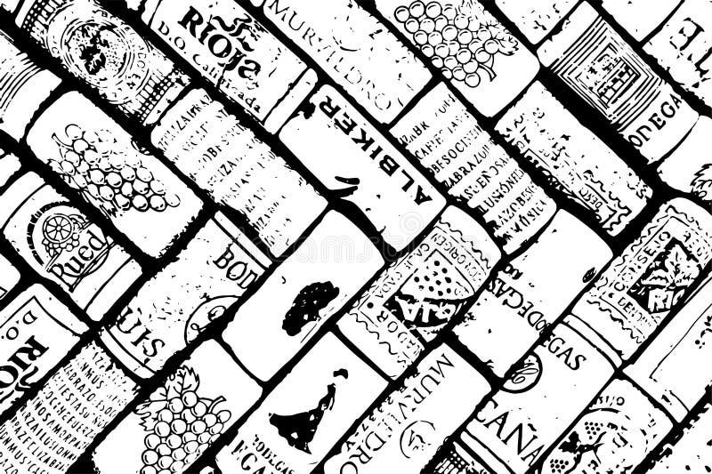 Wino korków wzoru projekt ilustracja wektor