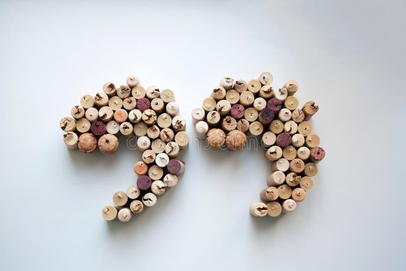 Wino korkuje cedułę - oceny sylwetka obraz stock