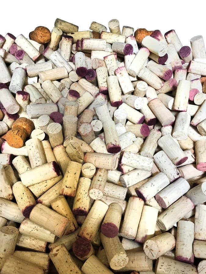 Wino Korkuje tła Biały Pionowo obraz stock