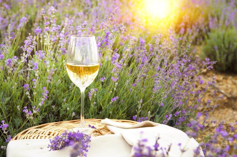 Wino lawenda i szkło zdjęcia stock